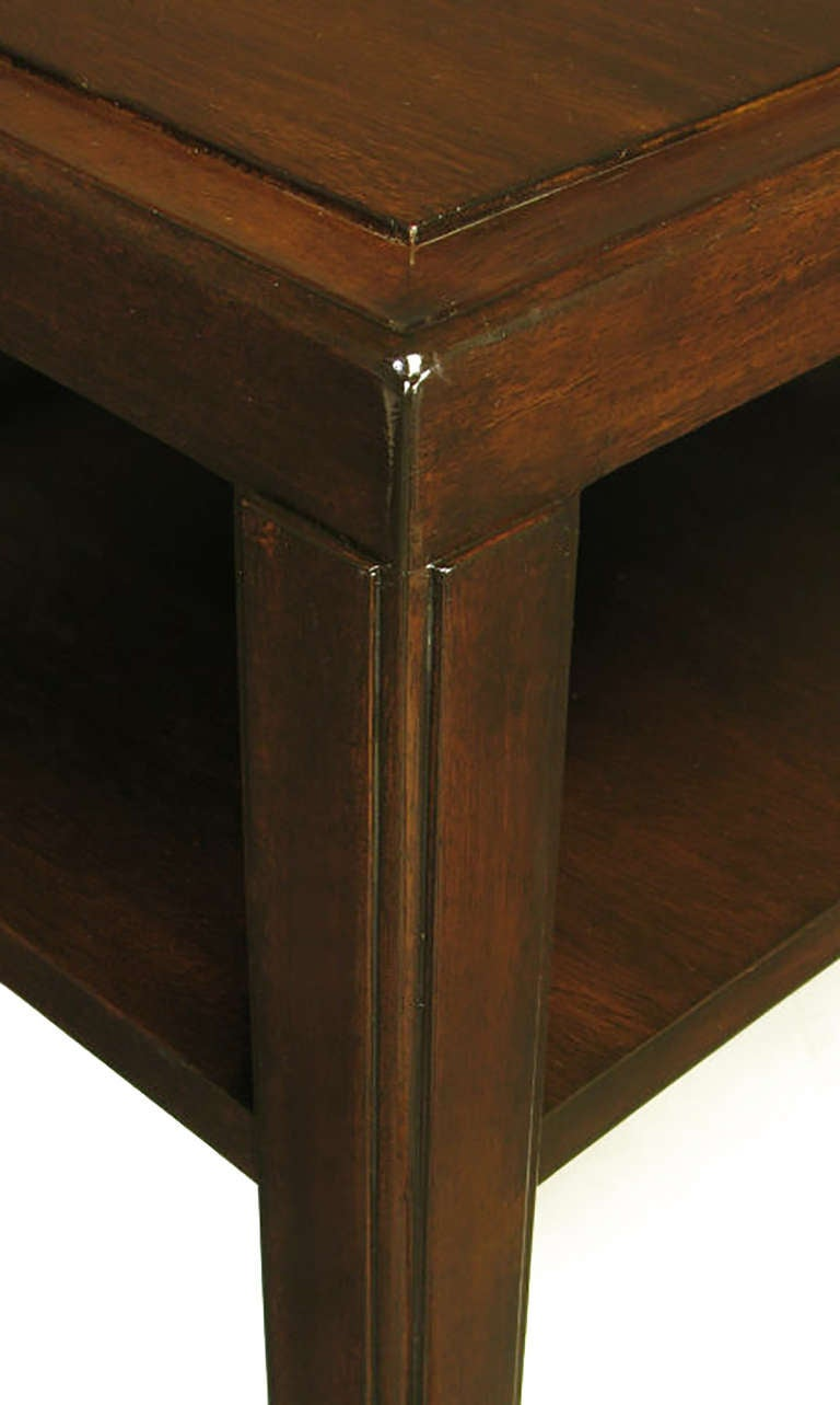 Pair of Edward Wormley Mahogany End Tables with Brass Feet For Sale 4