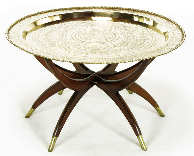 moroccan incised brass and mahogany folding six leg tray table for sale at 1stdibs. Black Bedroom Furniture Sets. Home Design Ideas