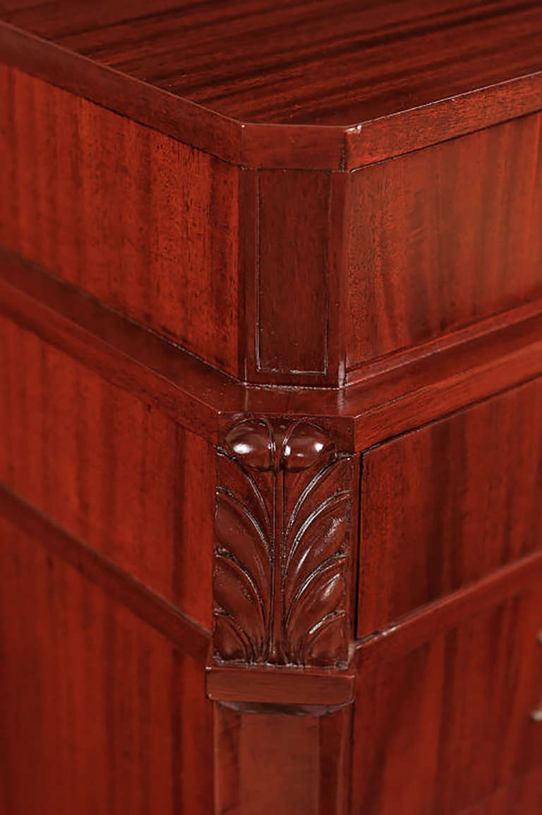 American Grosfeld House Figured and Carved Mahogany Tall Chest For Sale