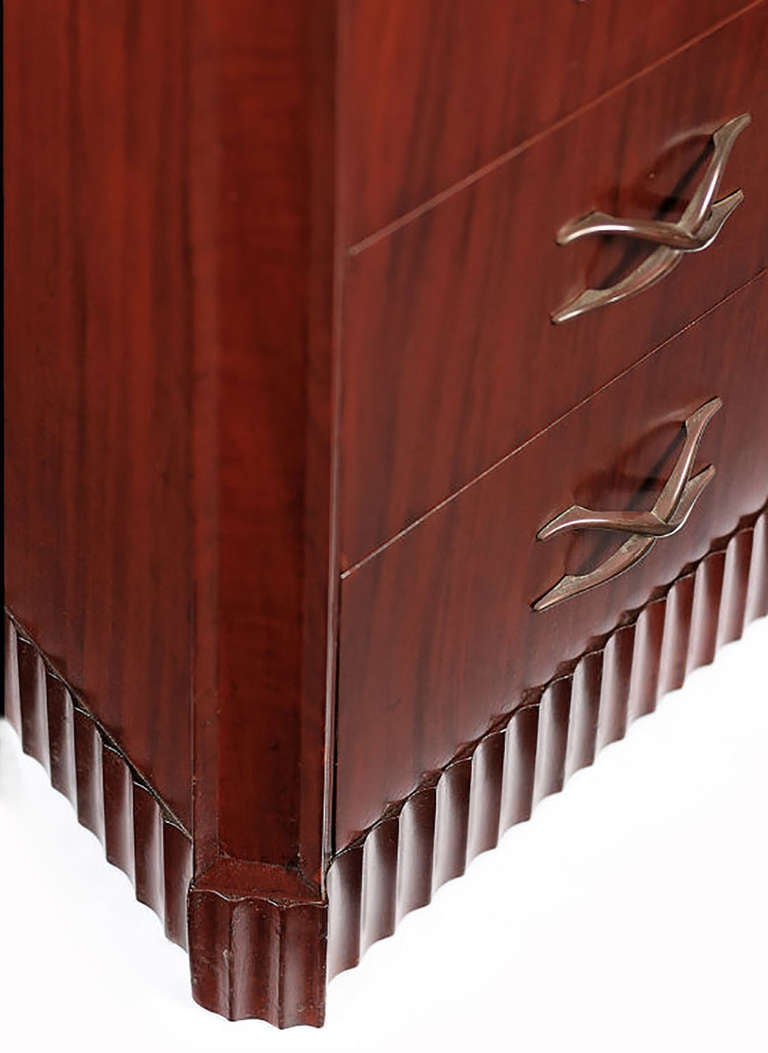 Grosfeld House Figured and Carved Mahogany Tall Chest In Good Condition For Sale In Chicago, IL