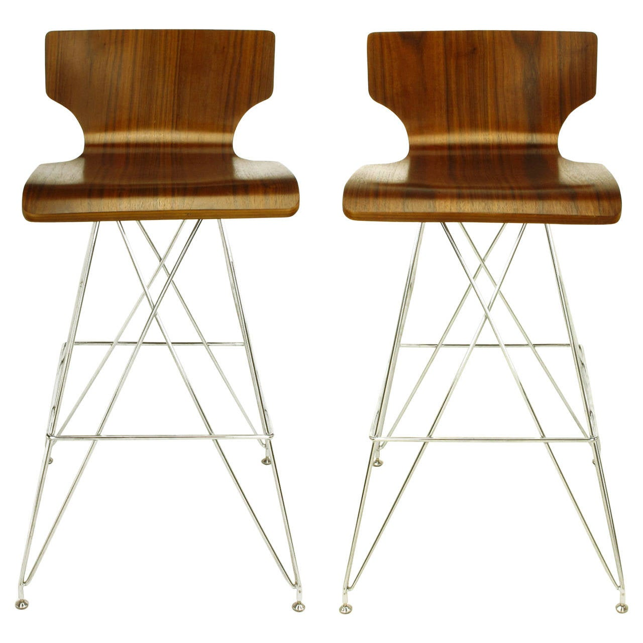 "Pair of ""Eiffel Tower"" Chrome and Bentwood Bar Stools 1"
