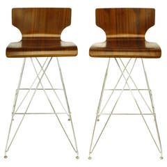 "Pair of ""Eiffel Tower"" Chrome and Bentwood Bar Stools"