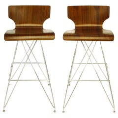 """Pair of """"Eiffel Tower"""" Chrome and Bentwood Bar Stools"""