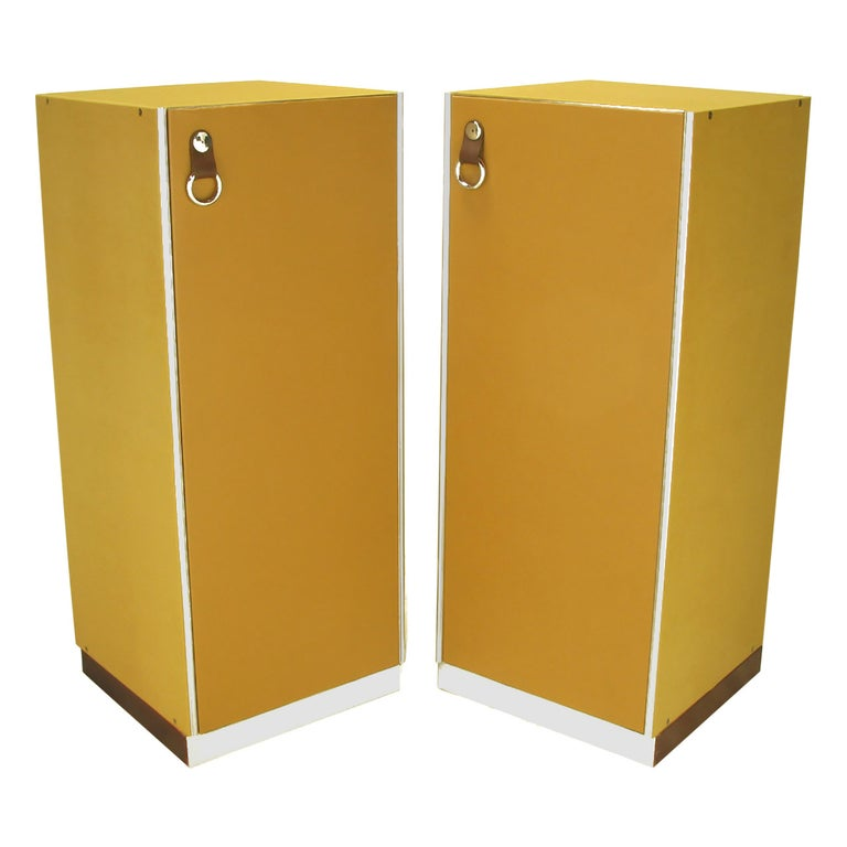 Pair of Guido Faleschini by i4 Mariani for Pace Leather and Chrome Tall Chests For Sale