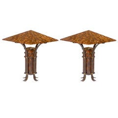 Pair of Maitland-Smith Tessellated Horn and Iron Table Lamps
