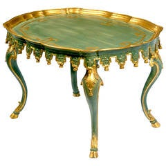 Italian Green and Parcel-Gilt Carved Tassels Tea Height Table