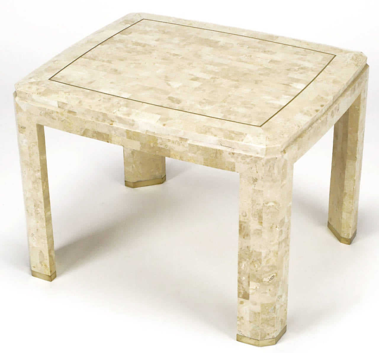Merveilleux Tessellated Fossil Stone End Table With A Stepped And Beveled Edge Top With  Inlaid Brass Border