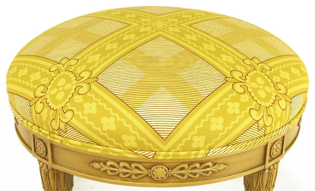 Round Lion's Paw Glazed Mahogany and Saffron Silk Empire Style Ottoman In Excellent Condition For Sale In Chicago, IL