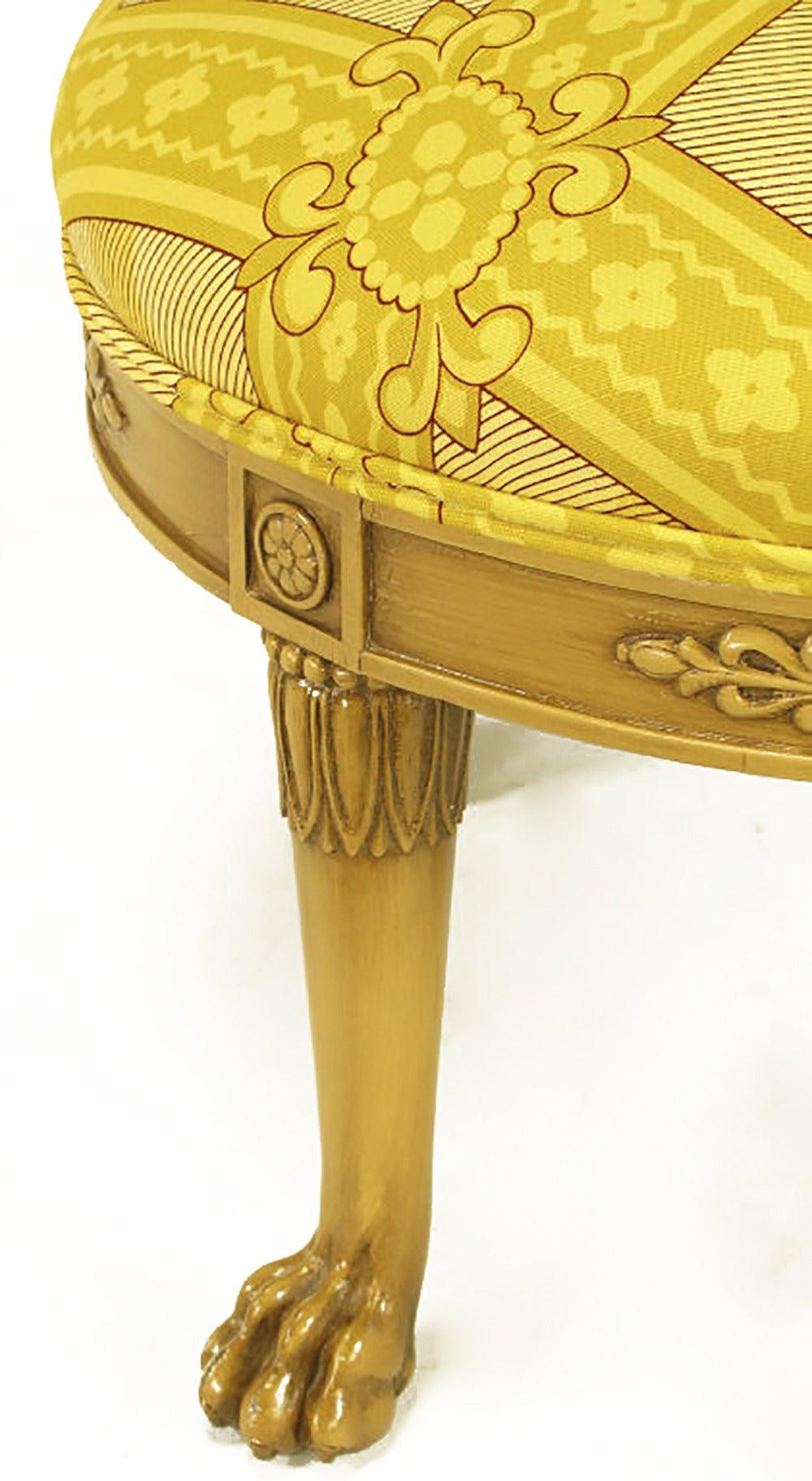 Mid-20th Century Round Lion's Paw Glazed Mahogany and Saffron Silk Empire Style Ottoman For Sale