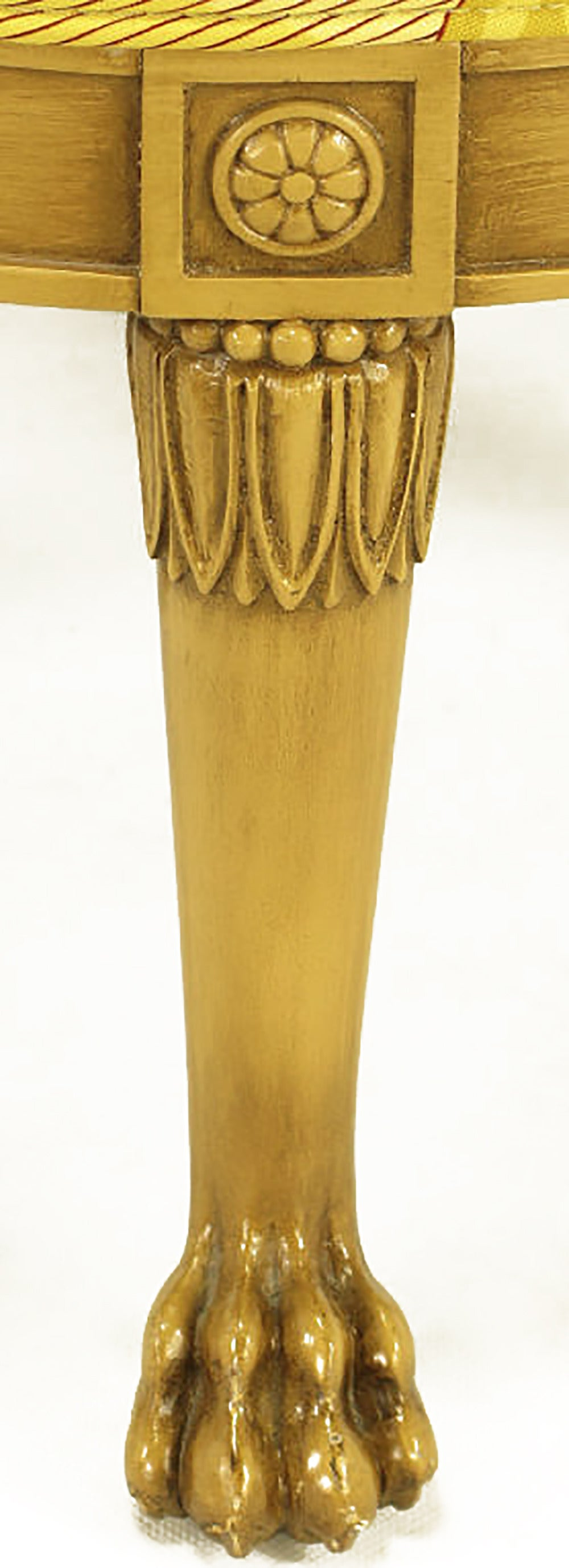 Round Lion's Paw Glazed Mahogany and Saffron Silk Empire Style Ottoman For Sale 1