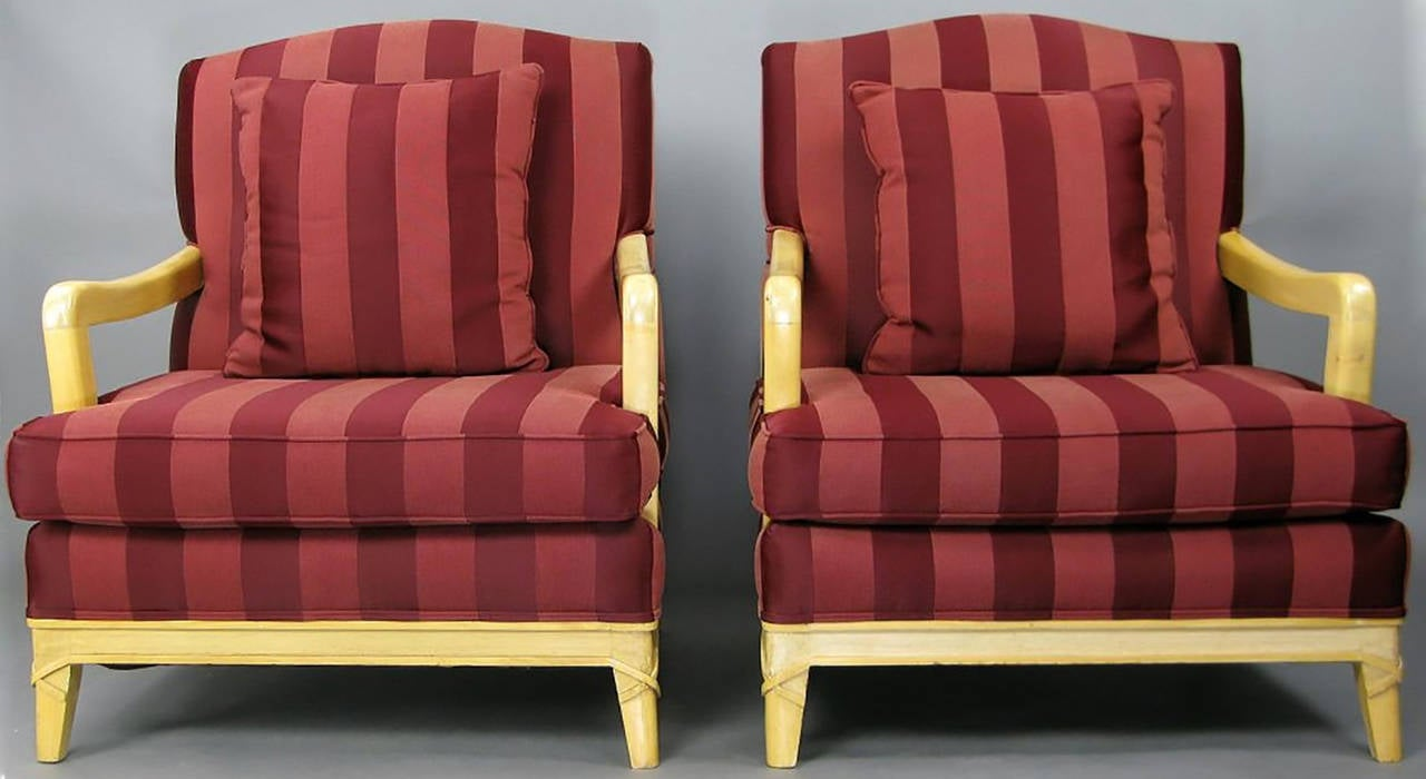 American Pair of Oxblood Stripe Open-Arm Lounge Chairs For Sale