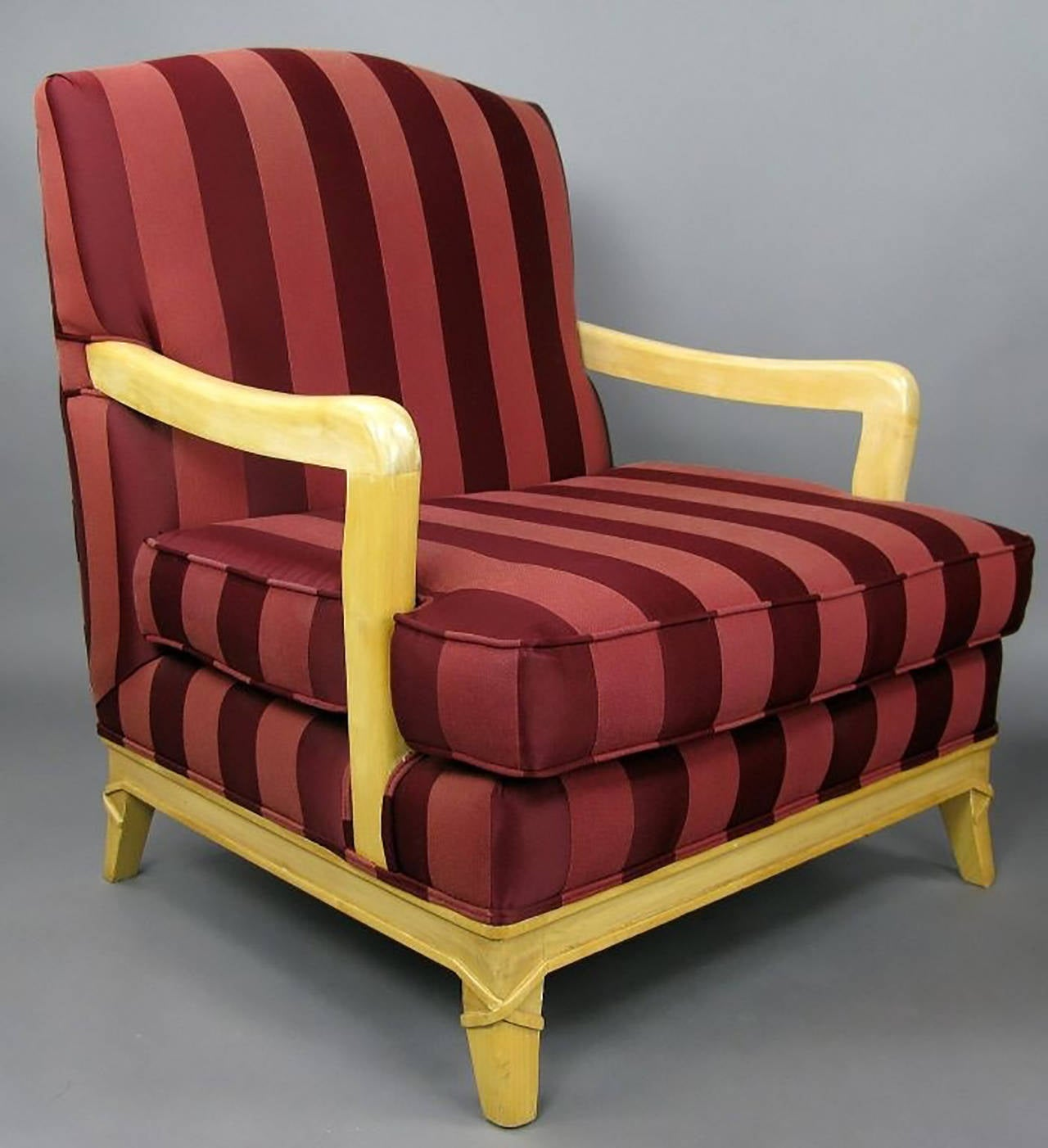 Glazed Pair of Oxblood Stripe Open-Arm Lounge Chairs For Sale