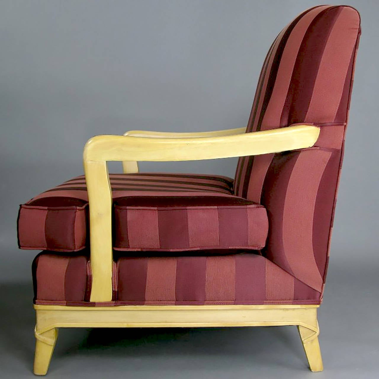 Pair of Oxblood Stripe Open-Arm Lounge Chairs In Good Condition For Sale In Chicago, IL