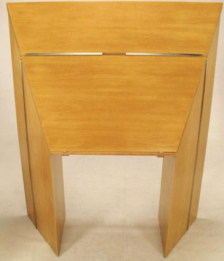 Primavera and brushed stainless steel drop front secretary has four drawers with brushed steel Art Deco inspired pulls, plus additional shelf storage. Origami angularity turns this extraordinary secretaire into functional art. The perfect desk or