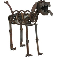 Life Sized Folk Art Welded Steel and Iron Dog Sculpture