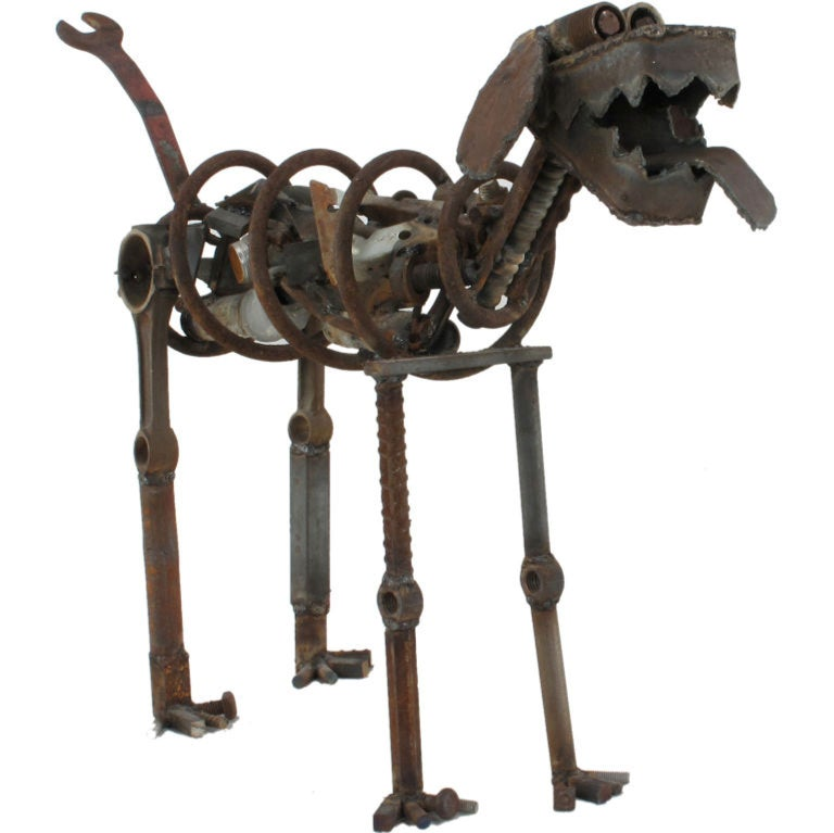 Life Sized Folk Art Welded Steel and Iron Dog Sculpture For Sale