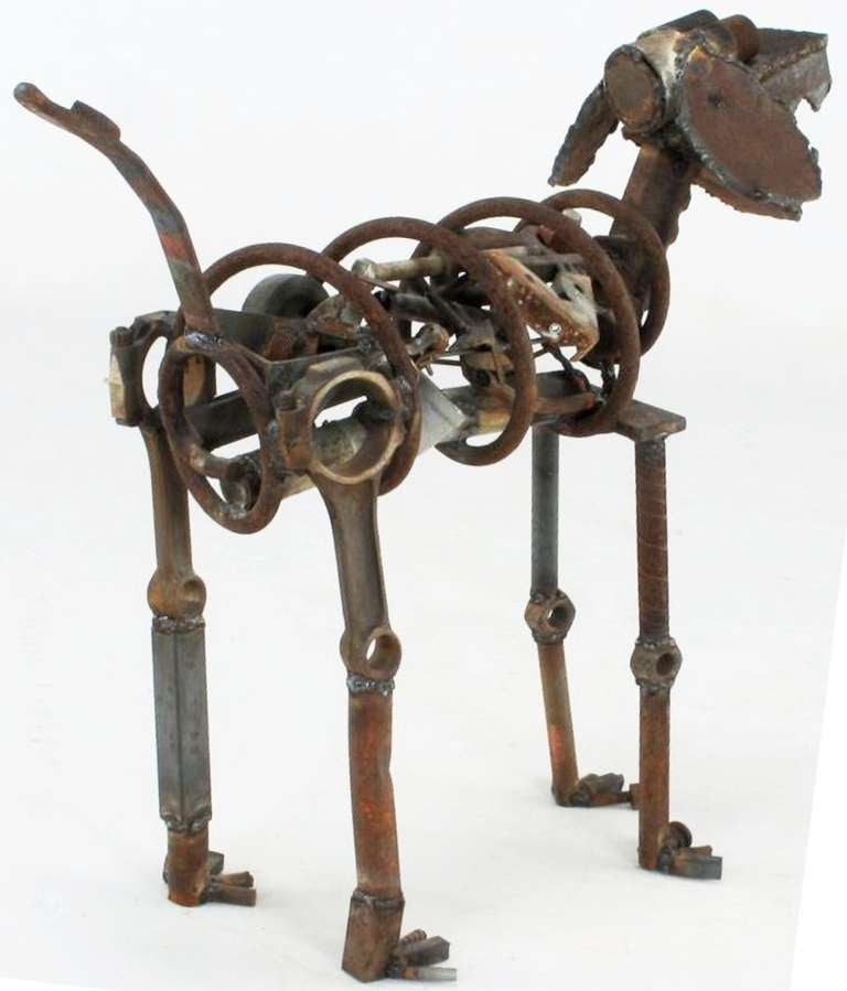American Life Sized Folk Art Welded Steel and Iron Dog Sculpture For Sale