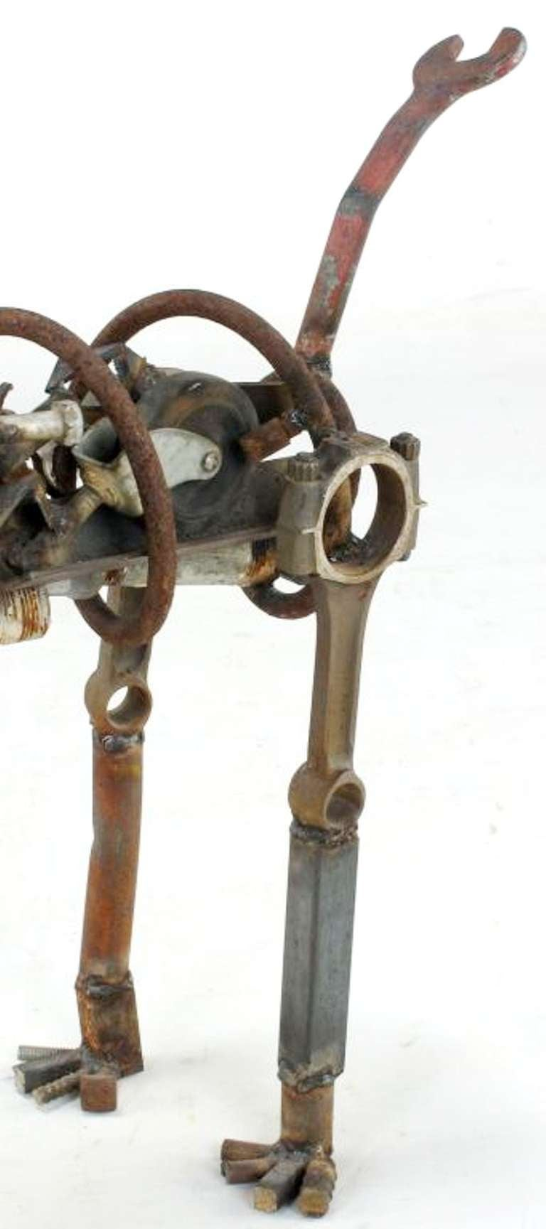 20th Century Life Sized Folk Art Welded Steel and Iron Dog Sculpture For Sale