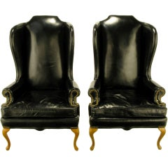 Pair 1960s Black Leather & Maple Wing Chairs By Hickory