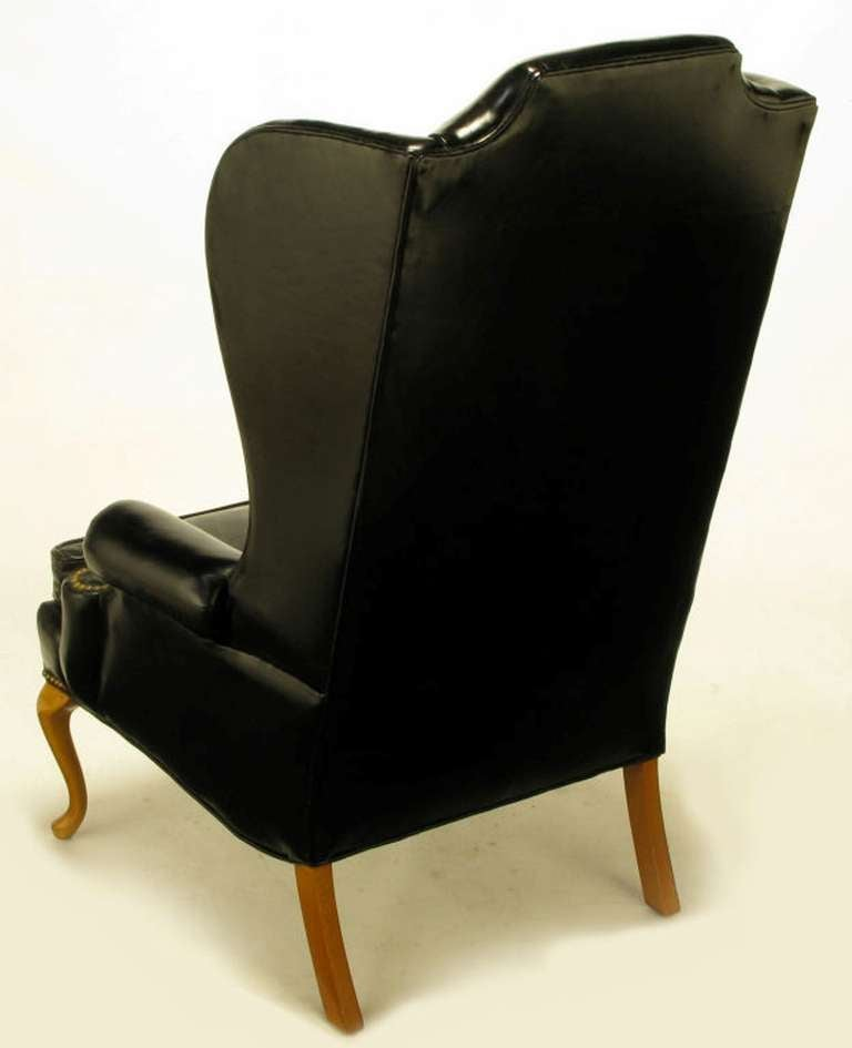 Pair 1960s Black Leather and Maple Wing Chairs By Hickory