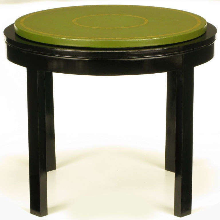Round Ebonized And Tooled Green Leather Top End Table For