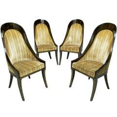 Four William Doezema For Mastercraft Amboyna & Brass Spoonback Dining Chairs
