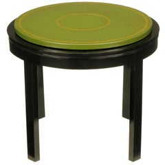 Round Ebonized and Tooled Green Leather Top End Table