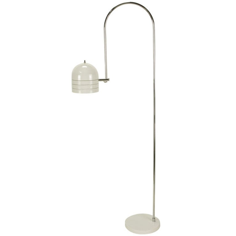 Raymor Italian Chrome and White Enameled Metal Arced Floor Lamp