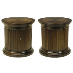 """Pair of Drexel """"Di Moda"""" Collection Fluted Column Parquetry Top End Tables"""