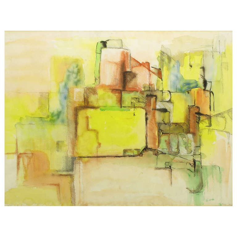 Jansen Abstract Mixed-Media Painting in Yellow, Green, Tan and Blue