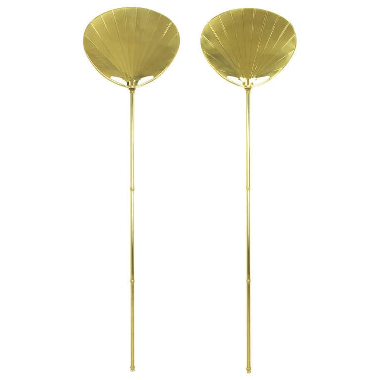 Wall Sconces With Cord Covers : Pair of Chapman Brass Fan Sconces with Bamboo-Form Cord Covers at 1stdibs