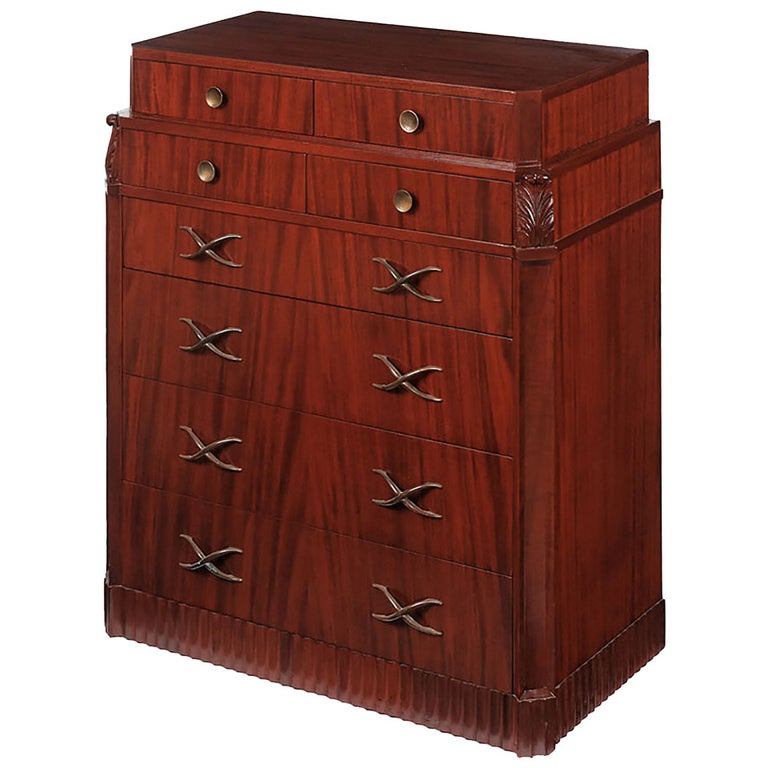 Grosfeld House Figured and Carved Mahogany Tall Chest For Sale