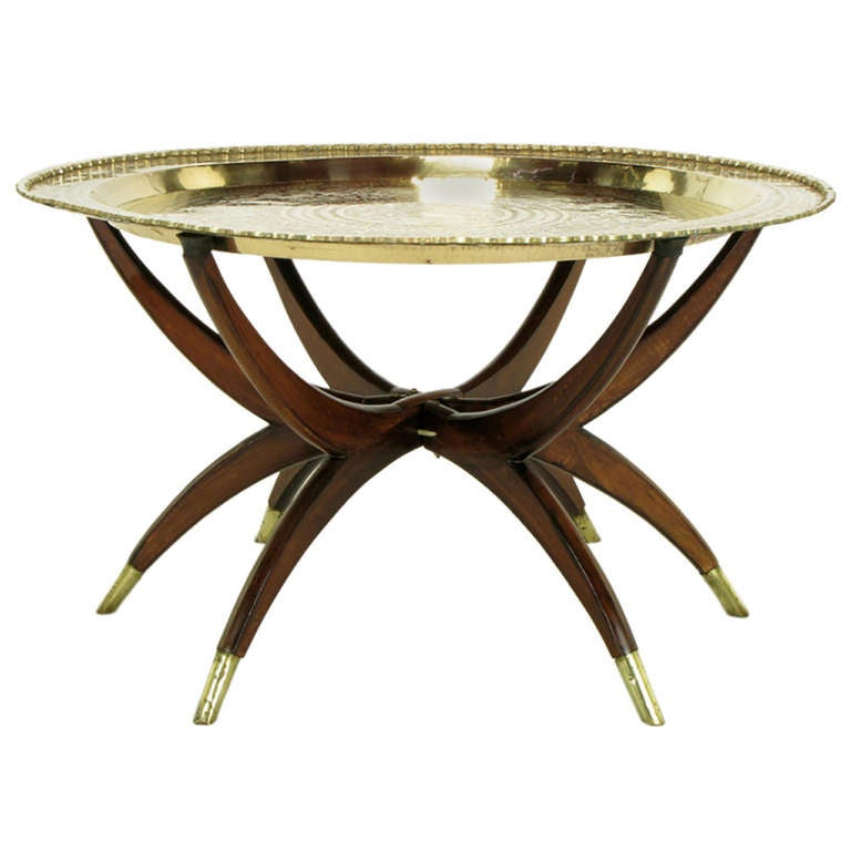 Moroccan Incised Brass and Mahogany Folding Six-Leg Tray Table
