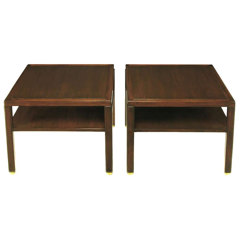 Pair of Edward Wormley Mahogany End Tables with Brass Feet 1