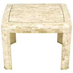 Tessellated Fossil Stone and Inlaid Brass End Table
