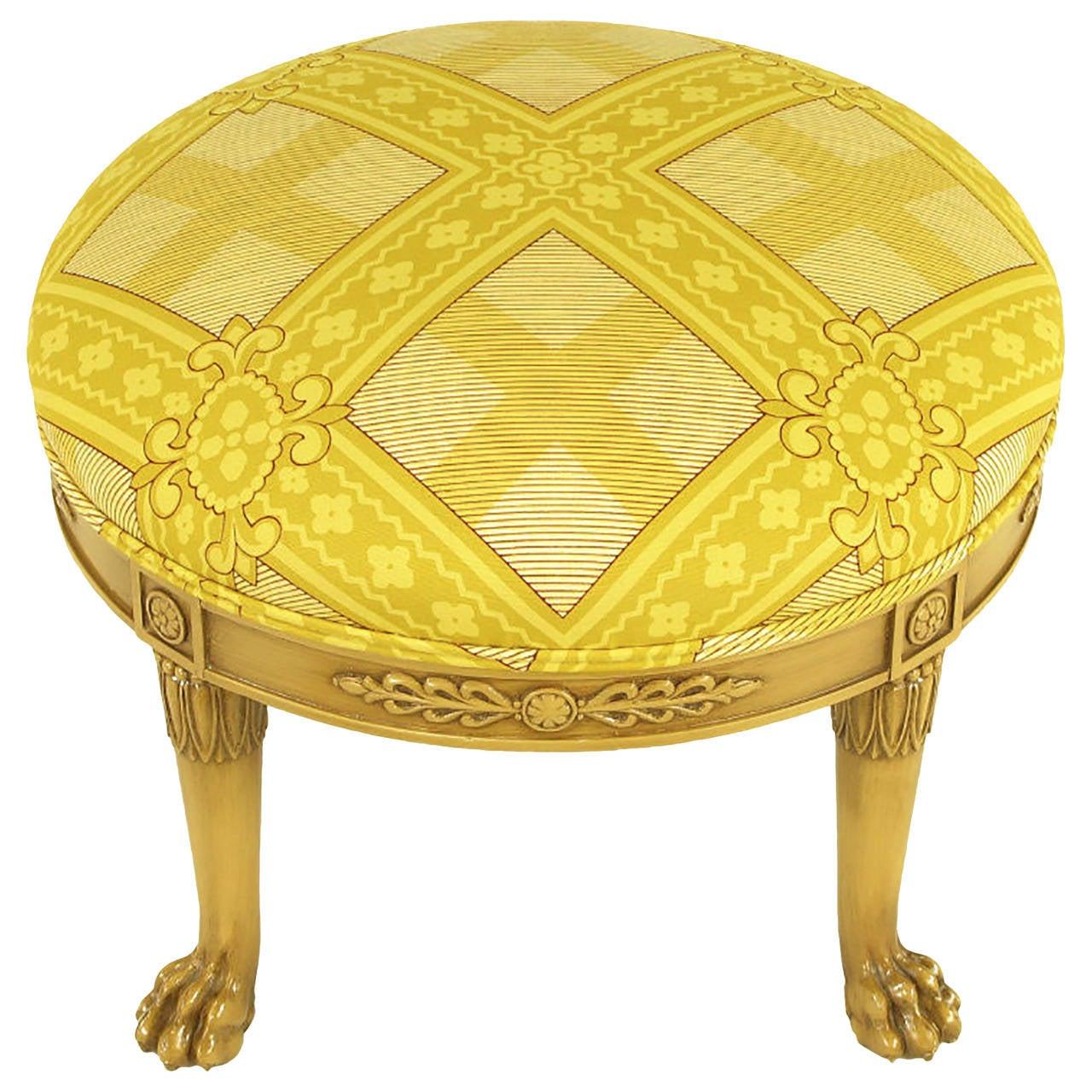 Ottomans Ornate Mahogany Ottoman: Round Lion's Paw Glazed Mahogany And Saffron Silk Empire