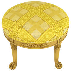Round Lion's Paw Glazed Mahogany and Saffron Silk Empire Style Ottoman