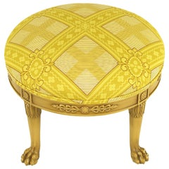 Round Lion's Paw Glazed Mahogany and Saffron Silk Empire Style Ottoman