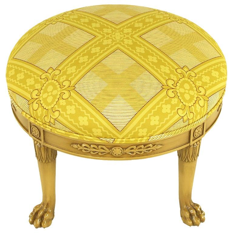 Round Lion's Paw Glazed Mahogany and Saffron Silk Empire Style Ottoman For Sale
