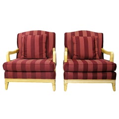 Pair of Oxblood Stripe Open-Arm Lounge Chairs