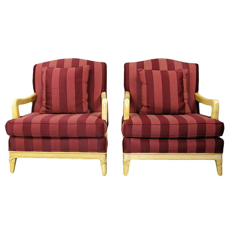 Pair of Oxblood Stripe Open-Arm Lounge Chairs For Sale