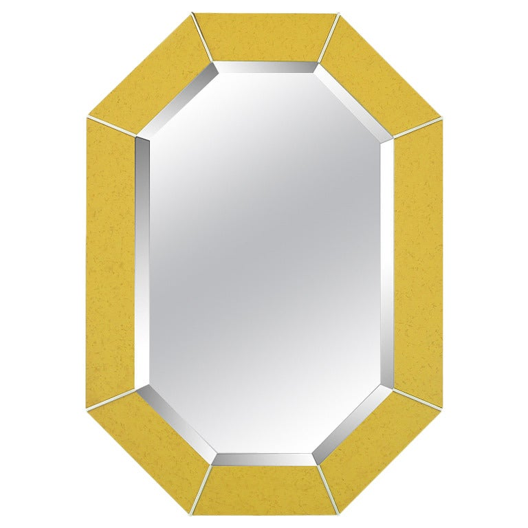 Karl Springer Octagonal Chrome and Marbelized Lacquer Mirror