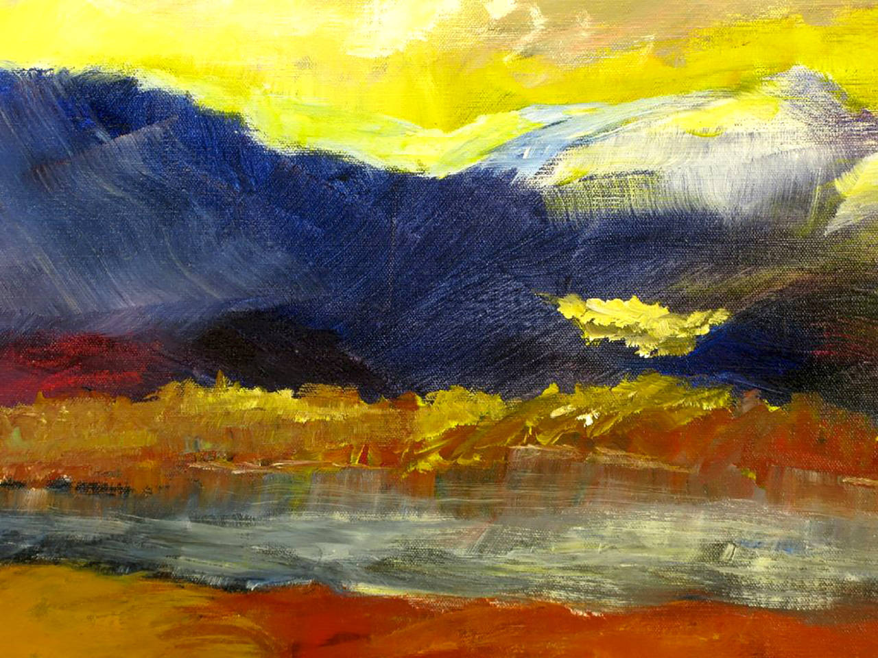 American Expressionist Landscape Oil Painting by Barbara Leadabrand For Sale