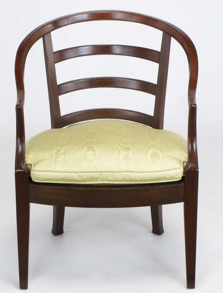Mid-20th Century Pair of Bert England for Baker Mahogany Barrel Back Armchairs For Sale