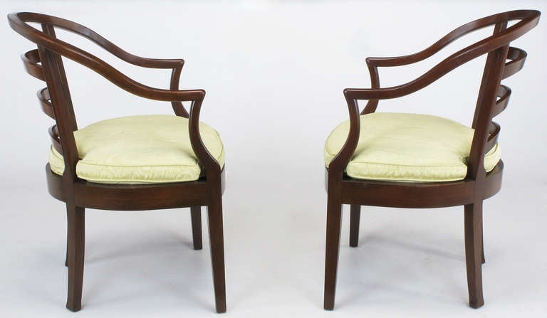 Pair of Bert England for Baker Mahogany Barrel Back Armchairs In Good Condition For Sale In Chicago, IL