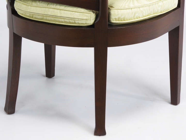 Pair of Bert England for Baker Mahogany Barrel Back Armchairs For Sale 4