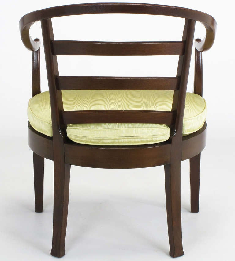 Pair of Bert England for Baker Mahogany Barrel Back Armchairs For Sale 2