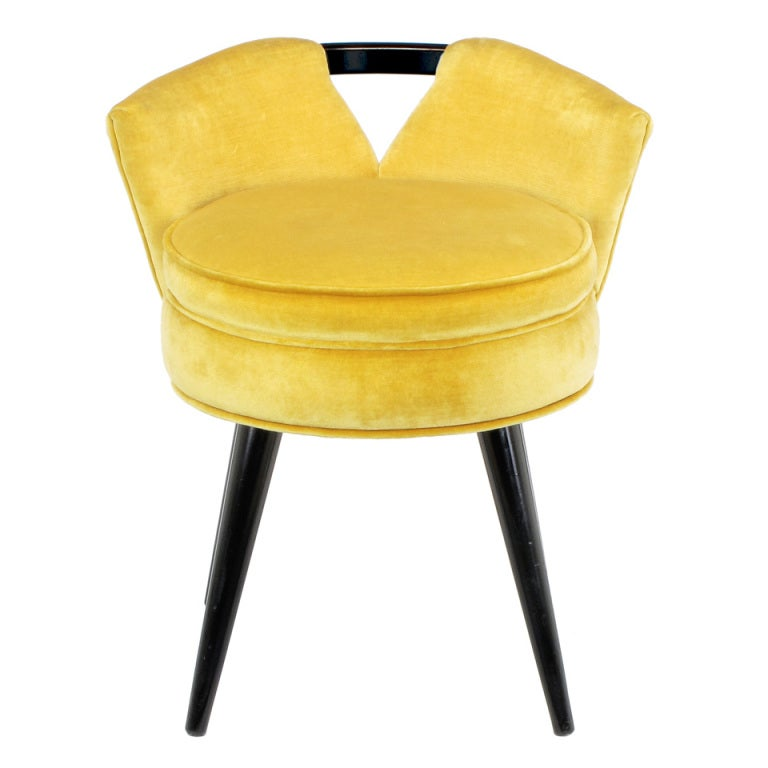 1940s Silk Velvet and Black Lacquer Swiveling Vanity Stool at 1stdibs