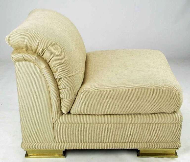 Pair of henredon deco revival slipper chairs in taupe silk and brass for sale at 1stdibs - Deco toiletten taupe ...