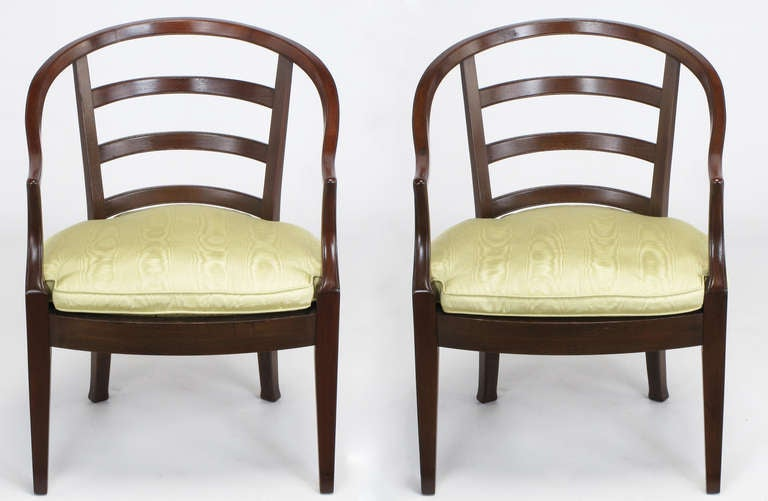 American Pair of Bert England for Baker Mahogany Barrel Back Armchairs For Sale